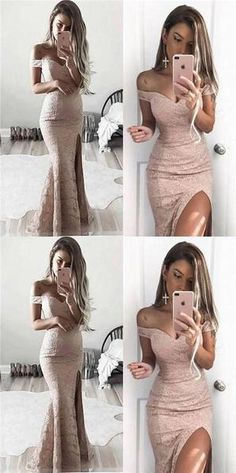pink lace prom dress mermaid high slit evening dress off the shoulder cocktail dress Prom Dresses, Evening Dresses Mermaid, Pink Prom Dresses, Lace Evening Dresses Prom Dresses 2019 Prom Dresses 2018, Sexy Dresses, Beautiful Dresses, Formal Dresses, Long Dresses, Elegant Dresses, Summer Dresses, Wedding Dresses, Ball Dresses