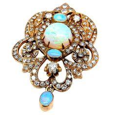 "fawnvelveteen: ""Victorian Diamond and Opal Pendant, c 1885 via 1stdibs.com """