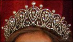 Queen Maria Christina's Diamond and Pearl Cartier Loop Tiara - 1879 - by Cartier - gift for Archduchess of Austria's wedding to King Alfonso XII of Spain - to their grandson Count Juan of Barcelona's bride Princess Maria de las Mercedes of Bourbon-Two Sicilies - to their son King Juan Carlos and his wife Queen Sofia