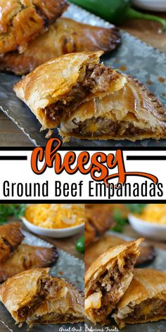 ground beef tacos Cheesy Ground Beef Empanadas are full of deliciously seasoned ground beef, loaded with two types of cheese and then baked to perfection. Best Empanadas Recipe, Baked Empanadas, Chicken Empanadas, Meat Recipes, Mexican Food Recipes, Appetizer Recipes, Cooking Recipes, Beef Appetizers, Hamburger Recipes