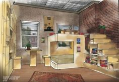 "Designed by Laura Ballinger Gardner for The American television series ""Girls"", Charlie's Studio is a tiny apartment turned into one amazing living space. It is a very inspirational idea when"
