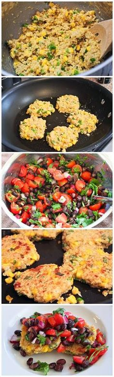 Quinoa & Corn Griddle Cakes With Black Bean Salsa Recipe