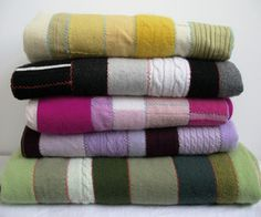 How to make a Cashmere Patchwork Quilt from discarded sweaters. Cashmere Patchwork Quilt by Sun Moon Lake Sweater Quilt, Old Sweater, Sweater Blanket, Shirt Quilts, Alter Pullover, Cute Blankets, Fleece Blankets, Thrift Store Crafts, Thrift Stores