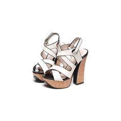 Multi-strap Platform Block Heel Sandals Cross Strap Platform Sandals ($17) ❤ liked on Polyvore featuring shoes, sandals, footware, velcro shoes, block-heel sandals, chunky-heel sandals, platform shoes and chunky heel sandals