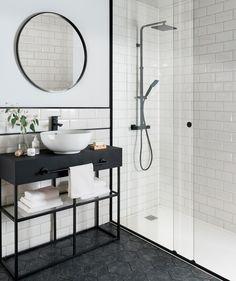 Metro White Tile with black rim and hexagon floor tiles! Metro Tiles Bathroom, White Bathroom Tiles, Bathroom Tile Designs, Bathroom Interior Design, Bathroom Styling, Small Bathroom, Black Bathrooms, Mirror Bathroom, Black And White Bathroom Ideas