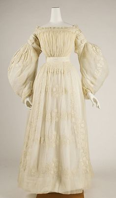 Wedding Dress    Date:      ca. 1837  Culture:      French  Medium:      cotton  Dimensions:      Length: 49 in. (124.5 cm)  Credit Line:      Gift of Mrs. R. T. Auchmuty, 1915  Accession Number:      15.149.1a–c