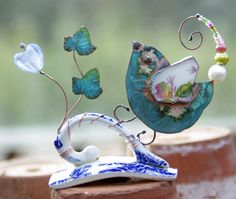 Wee verdigris copper birdie with a broken china wing and glass heart dancing on a teacup handle. Felt Hair Clips, Heidi Swapp, Broken China, Sheep Wool, Mixed Media Art, Wool Felt, Original Art, Wings, Collage