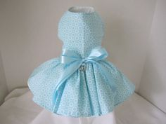 Dog Dress  XS Aqua  with white Circles  By by NinasCoutureCloset, $35.00