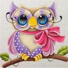 The color cute owl Embroidery Cross Stitch Full circular Diamond DIY Diamond Painting Rhinestone Mosaic Painting child gift Owl Embroidery, Hand Embroidery Kits, Cross Stitch Embroidery, Cross Paintings, Animal Paintings, Purple Owl, Owl Cartoon, Owl Pictures, Stained Glass Projects