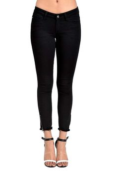 These Black Ankle Jeans by Kan Kan are soft and comfortable. They have a side zipper at the ankle and the so popular frayed edge! You will love these jeans Fit: TTS Fabric Content: Cotton, Rayon, Spandex, Poly : Inseam: Skinny Ankle Jeans, Mid Rise Skinny Jeans, Casual Jeans, Jeans Style, Women's Jeans, Flannel Lined Jeans, Curvy Jeans, Modest Outfits, Black Denim