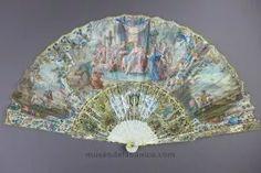 Rococó S.XVIII Bodas De Alejandro .Abanico S XVIII. Rococó en marfil y vitela pintada a mano con motivo de las bodas de Alejandro magno.