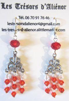 Longues Boucles d'Oreilles Rouges avec Pampilles, : Boucles d'oreille par les-tresors-d-alienor