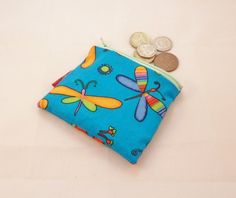 Bright Blue Dragonfly Fabric Coin Purse - Free P £5.00