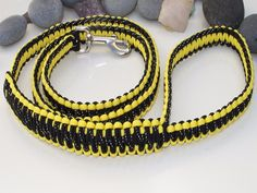 Reflective Black & Yellow Paracord Dog Lead