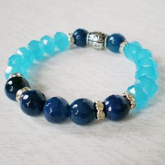 blue beaded stacking bracelet boho chic crystal by jcudesigns, £8.00