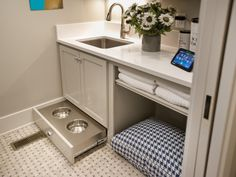 HGTV Smart Home Laundry Room Tour - Laundry Room Pictures From HGTV Smart Home 2014 on HGTV. Pet bed area perfect for my kitty litter box. Animal Room, Laundry Room Pictures, Dog Rooms, Dog Shower, Laundry Room Design, Laundry Rooms, Dog Room Design, Room Tour, Mudroom