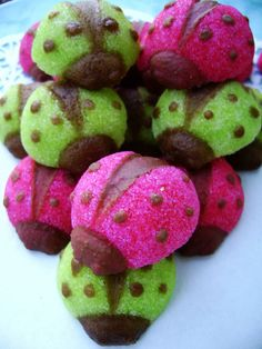 Ladybug Toppers in Lime Green and Hot Pink by LeChicBakeryBoutique. via Etsy.