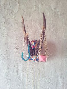DIY necklace storage from roebuck's horns. http://metinearbata.blogspot.com/2013/08/i-made-it-myself-necklace-storage.html