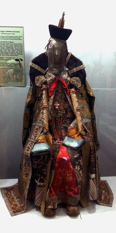 """Full costume of a married wealthy Mongolian woman, on display at the Mongolian National Museum 
