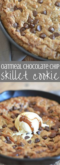 Oatmeal chocolate chip cookie dough is spread into a cast iron skillet and baked until it's melty, gooey deliciousness. We top it off with salted caramel sauce and ice cream. Brownie Desserts, Oreo Dessert, Mini Desserts, Coconut Dessert, Ice Cream Desserts, Delicious Desserts, Delicious Chocolate, Healthy Desserts, Cast Iron Skillet Cooking