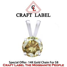 """1/3Ct Or 0.33Ct Real Brown 10K White Gold Solitaire Pendant Without Chain """"Mother\'s Day Gift"""". Starting at $1"""