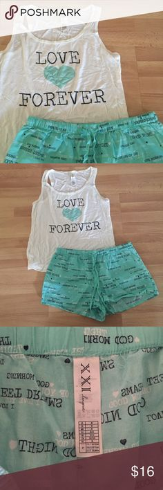 XXI Lingerie Set Forever 21 Lingerie tank and shorts set in mint green, black, and off-white. • SIZE: Medium • NWOT • Forever 21 Intimates & Sleepwear Pajamas