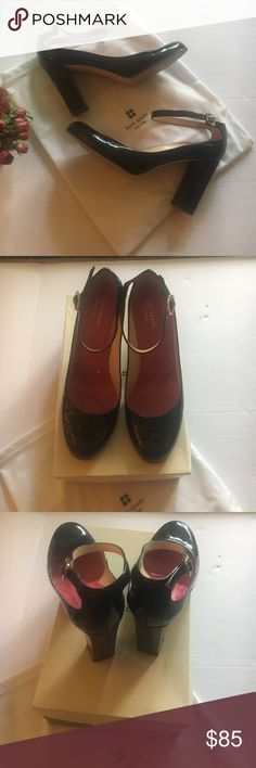 "kate spade kameroin shoes - size 81/2 Very good condition. 3"" high heels. All around ankle buckled strap. Patent leather. Authentic. Goes with dust bag and shoes box. kate spade Shoes Heels"