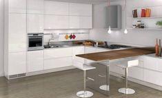 Картинки по запросу современная угловая кухня с барной стойкой