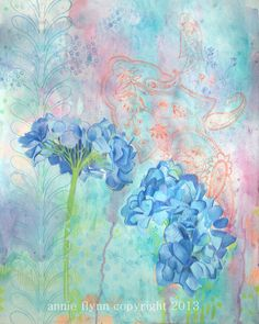 """Archival Print of Original Mixed Media """"Blue Hydrangeas in Summer"""" by annieflynn1 on Etsy https://www.etsy.com/listing/150729559/archival-print-of-original-mixed-media"""
