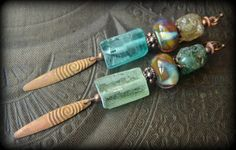 Ancient Roman Glass, Lampwork Glass, Primitive,Organic, Rustic, Earthy, Daggers, Beaded Earrings by YuccaBloom on Etsy