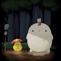WEBSTA @ sweetsundaygifts - Ohhhh how cute is Molang acting as Totoro with his friend
