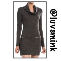 ZIPPERED BODYCON IN CHARCOAL GREY -  LARGE What could be more chic than a BODYCON dress with zippered pockets, soft knit fabric, and a draped neckline??  Nothing, other than a matching dress in Burgundy !!  Form fitting to wear with your favorite leggings or tights, thigh boots, or booties.  A blend of Poly, Rayon, and Spandex ; 32 inches in length.  Available in Small, Medium, and Large. NO HOLD OR TRADES;  PRICE IS FIRM, UNLESS BUNDLED.  COLOR IS CHARCOAL GREY This listing is for a size…