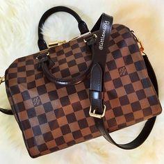 Then Handbag!  Louis Vuitton Speedy Bandouliere 25 in Damier Ebene