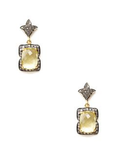 Diamond Floral & Lemon Topaz Cushion Drop Earrings by Amrapali on Gilt.com