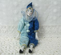 "Clown Doll Silvestri Porcelain Clown 14.5"" Vintage Made in Taiwan 