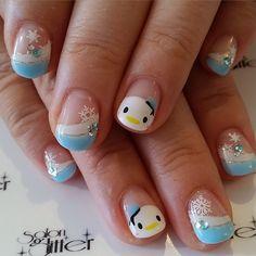 """Never tire of tsum tsum! #tsumtsumnail #winternails #frenchnails"""