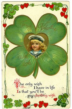 Valentine card with 4-leaf clover and hearts