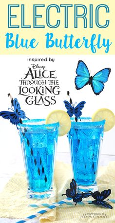 This electric blue cocktail, inspired by Alice Through the Looking Glass, is a refreshing blend of lemonade, vodka, blue curacao and - Happiness is Homemade Blue Butterfly Cocktail & Mocktail - YUM! Blue Curacao Drinks, Blue Drinks, Mix Drinks, Liquor Drinks, Disney Drinks, Disney Mixed Drinks, Good Mixed Drinks, Cocktail And Mocktail, Cocktail Recipes