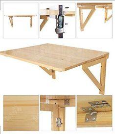 Table murale rabattable/table de cuisine pliante Idéale pour enfants, Clair / Transparent / Naturel, L x P: 75cm x 60cm - 2 chambrières- Rectangulaire