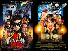Your Favorite DC Superheroes, Drawn Into Famous Movie Posters - Batman & Robin (riffing on Harry Potter and the Philosopher's Stone)