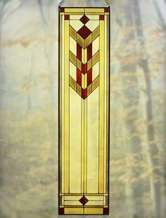 Arts and Crafts Tall Prairie Flower Art Glass Panel   Maclin Studio