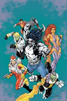 R.E.B.E.L.S. - Adam Strange, Vril Dox, Captain Comet, Lobo, Starfire, Tribulus by Aaron Lopresti.