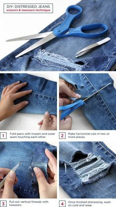 DIY distressed jeans - this site has the BEST tutorials on how to alter clothes!
