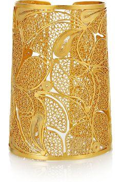 Mallarino                                  Cielo 24-karat gold-vermeil filigree cuff