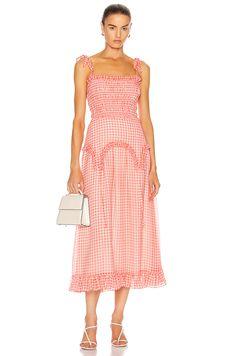 Pop Fashion, Womens Fashion, Sandy Liang, Nice Dresses, Summer Dresses, Midi Length Skirts, Dress Cuts, Wide Leg Trousers, Pattern Fashion