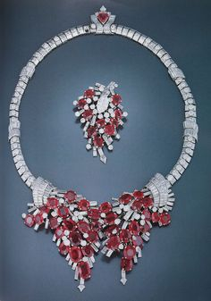 Cartier London Art Deco Ruby Necklace and Pin 1938