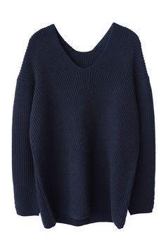 Navy Blue Soft Wool V Neck Chunky Sweater