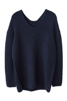 Navy Blue Soft Wool V Neck Chunky Sweater