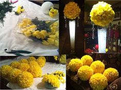 Update on Centerpieces :  wedding yellow flowers diy reception FlowerCollage
