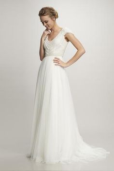 Nima - #890327 - Cap sleeve v-neck pearl beaded scallop bodice with Spanish tulle skirt